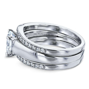 Cushion Moissanite Solitaire and Diamond Double Bands 3-Piece Set 1 2/5 CTW in 14k White Gold