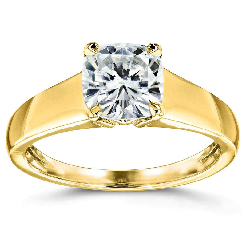 Kobelli Cushion Moissanite Classic Solitaire Ring 1 1/10 CTW 14k Yellow Gold