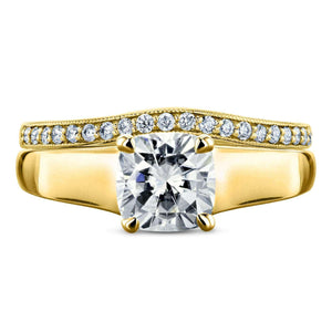 Kobelli Cushion Moissanite Solitaire and Diamond Band Set 1 1/4 CTW in 14k Yellow Gold