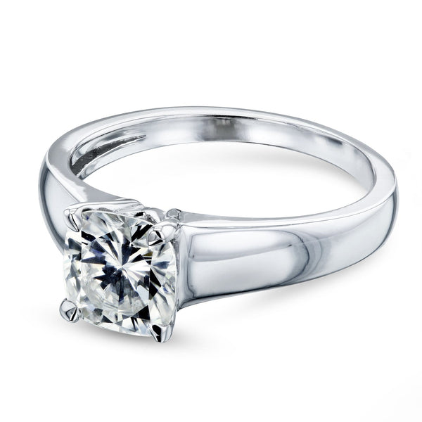 Kobelli Cushion Moissanite Classic Solitaire Ring 1 1/10 CTW 14k White Gold