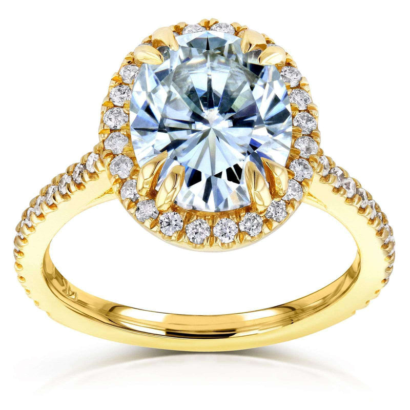 Kobelli Oval Moissanite and Halo Diamond Engagement Ring 3 2/5 CTW in 14k Yellow Gold