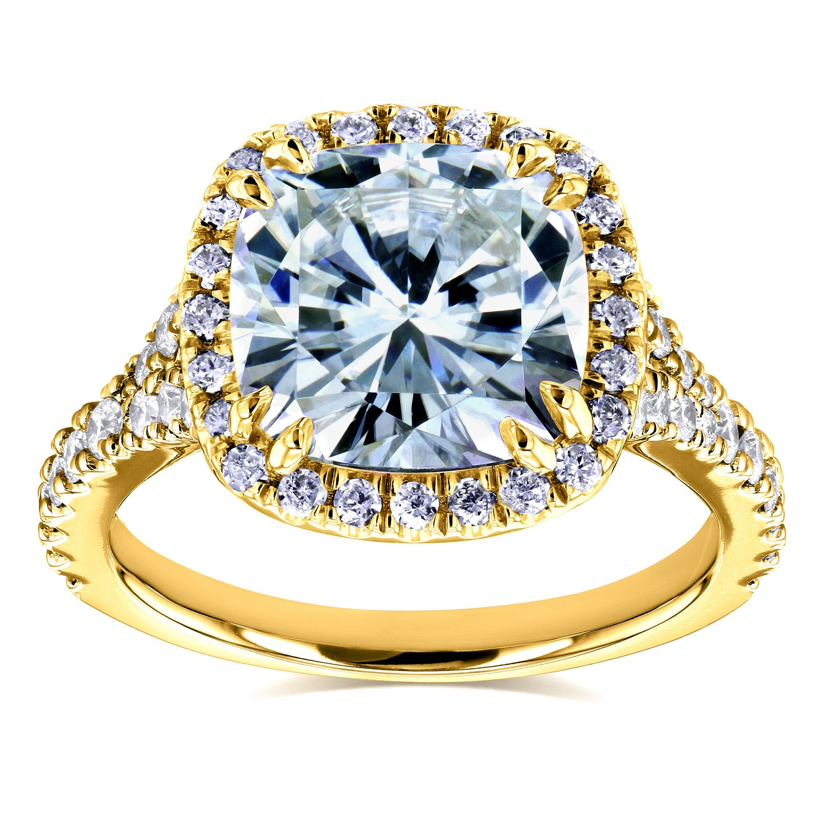 Discounts Cushion Moissanite and Diamond Halo Cathedral Ring 3 1/3 CTW in 14k Yellow Gold - 10.5
