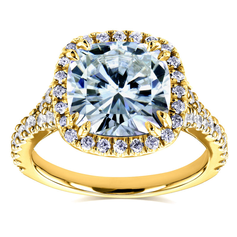 Kobelli Cushion Moissanite and Diamond Halo Cathedral Ring 3 1/3 CTW in 14k Yellow Gold