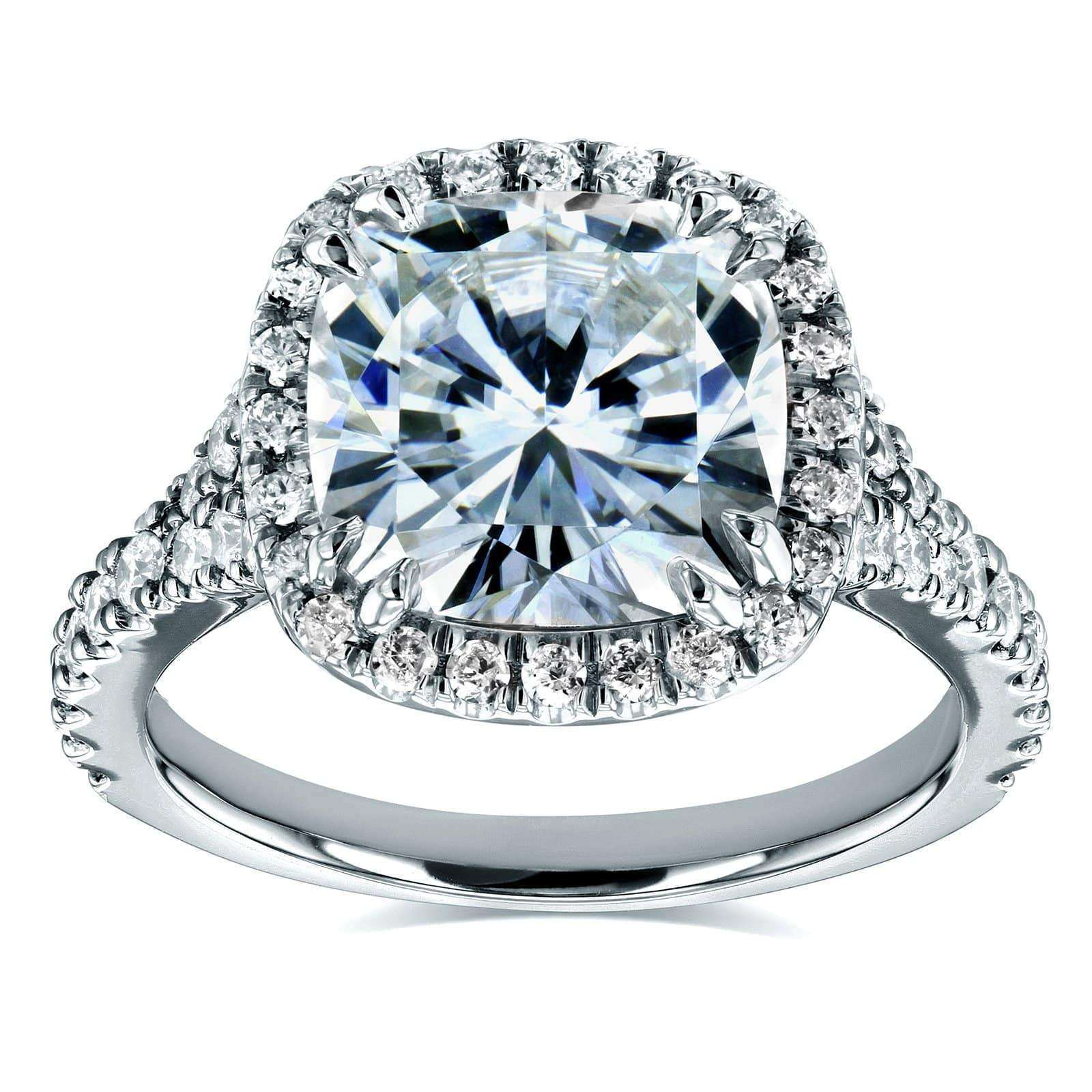 Top Cushion Moissanite and Diamond Halo Cathedral Ring 3 1/3 CTW 14k White Gold - 11