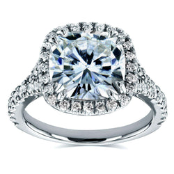 Kobelli Near-Colorless (F-G) Cushion Moissanite and Diamond Halo Cathedral Ring 3 1/3 CTW in 14k White Gold
