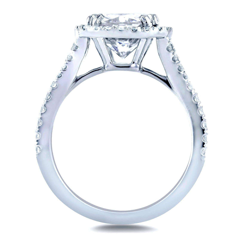 Kobelli Cushion Moissanite and Diamond Halo Cathedral Ring 3 1/3 CTW 14k White Gold