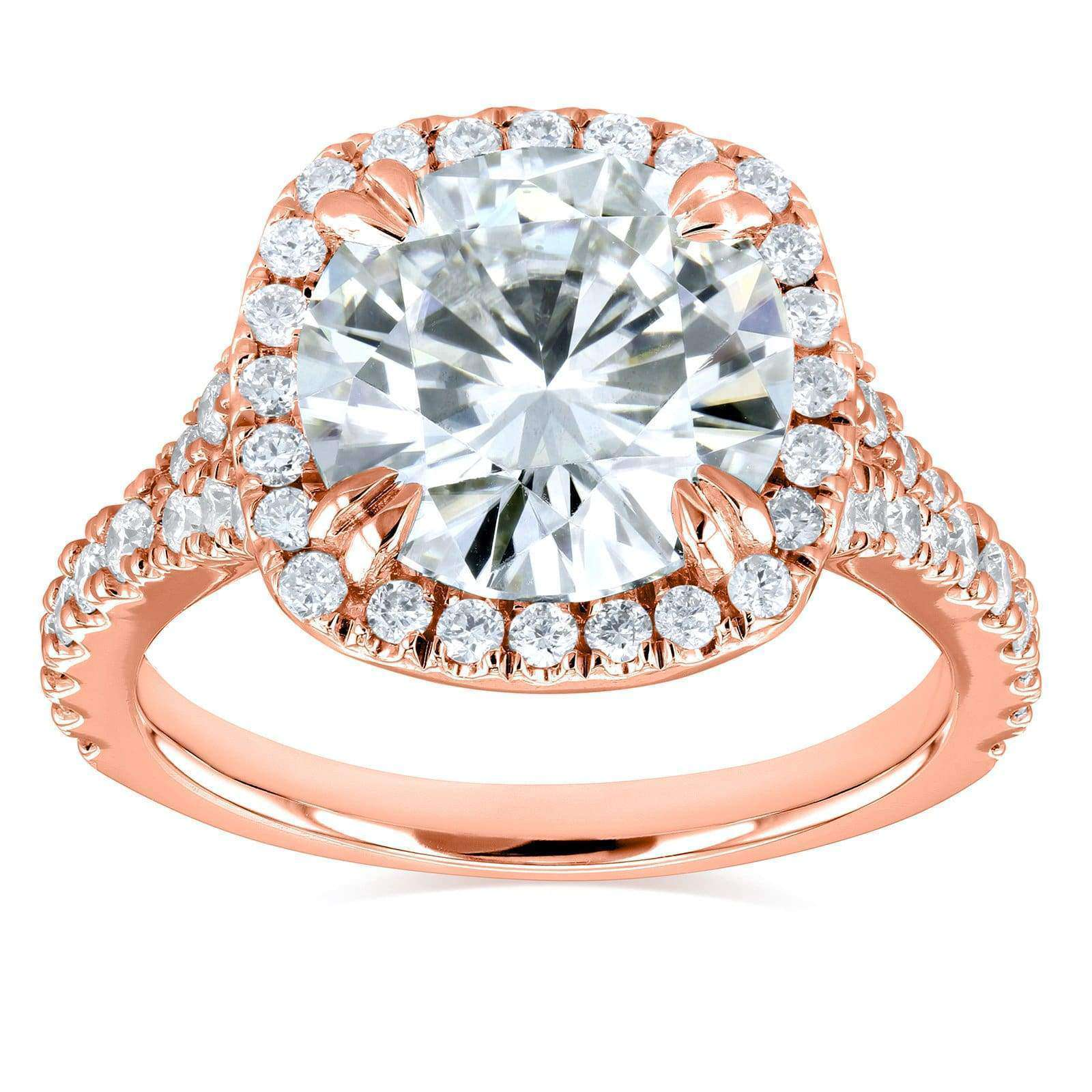 Coupons Round H-I Moissanite and Diamond Halo Engagement Ring 3 5/8 CTW 14k Rose Gold - 7