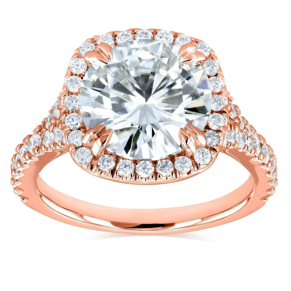 Kobelli Round H-I Moissanite and Diamond Halo Engagement Ring 3 5/8 CTW 14k Rose Gold