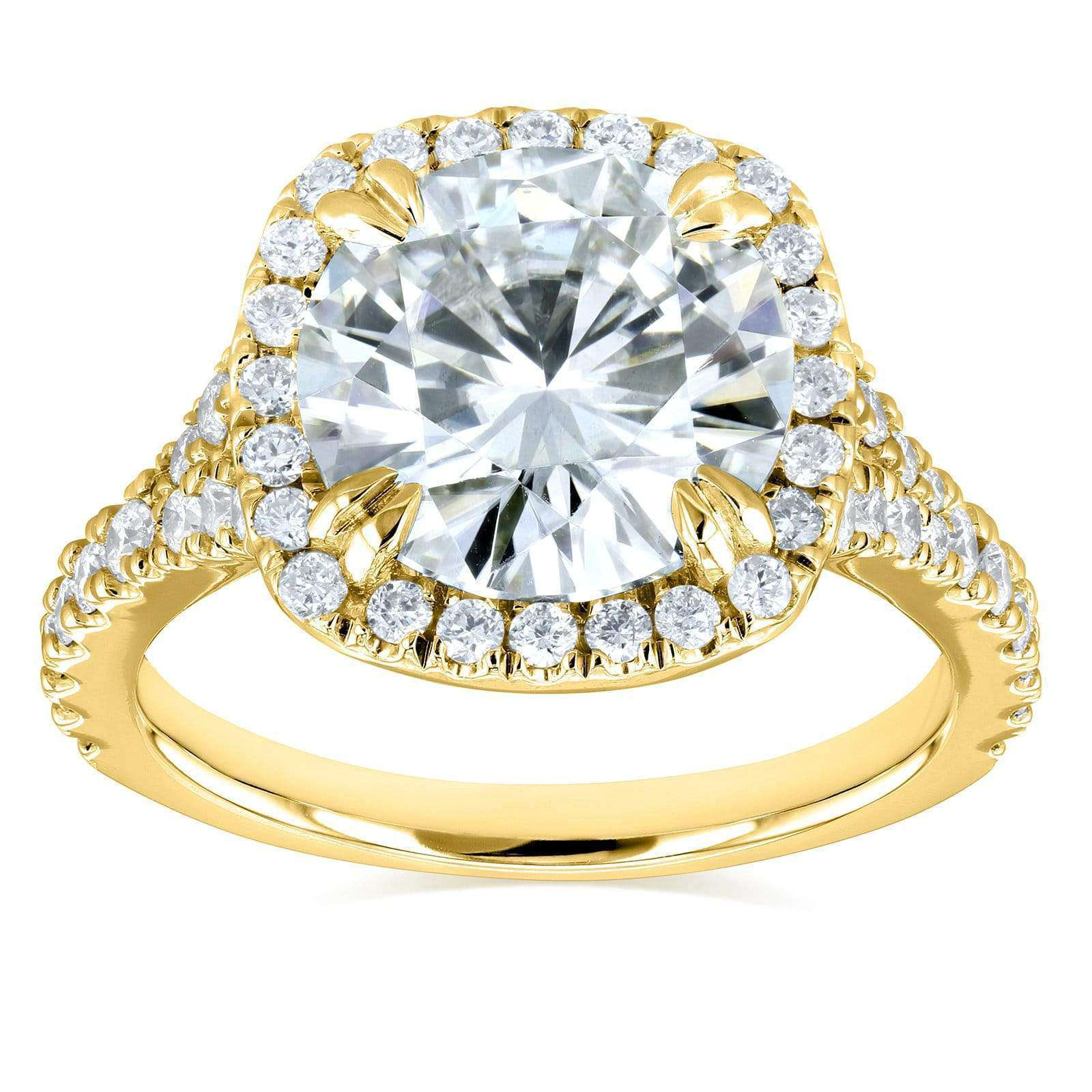 Coupons Round H-I Moissanite and Diamond Halo Engagement Ring 3 5/8 CTW 14k Yellow Gold - 9