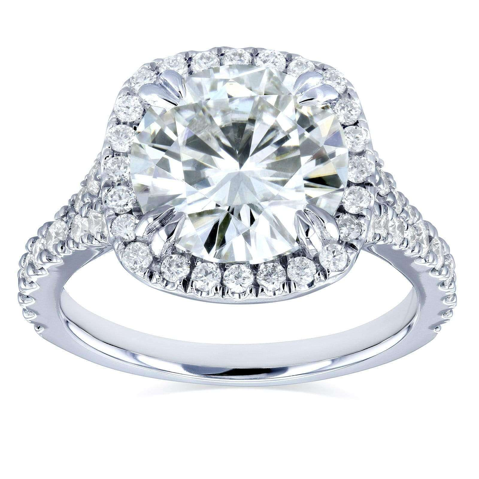 Coupons Round H-I Moissanite and Diamond Halo Engagement Ring 3 5/8 CTW 14k White Gold - 10