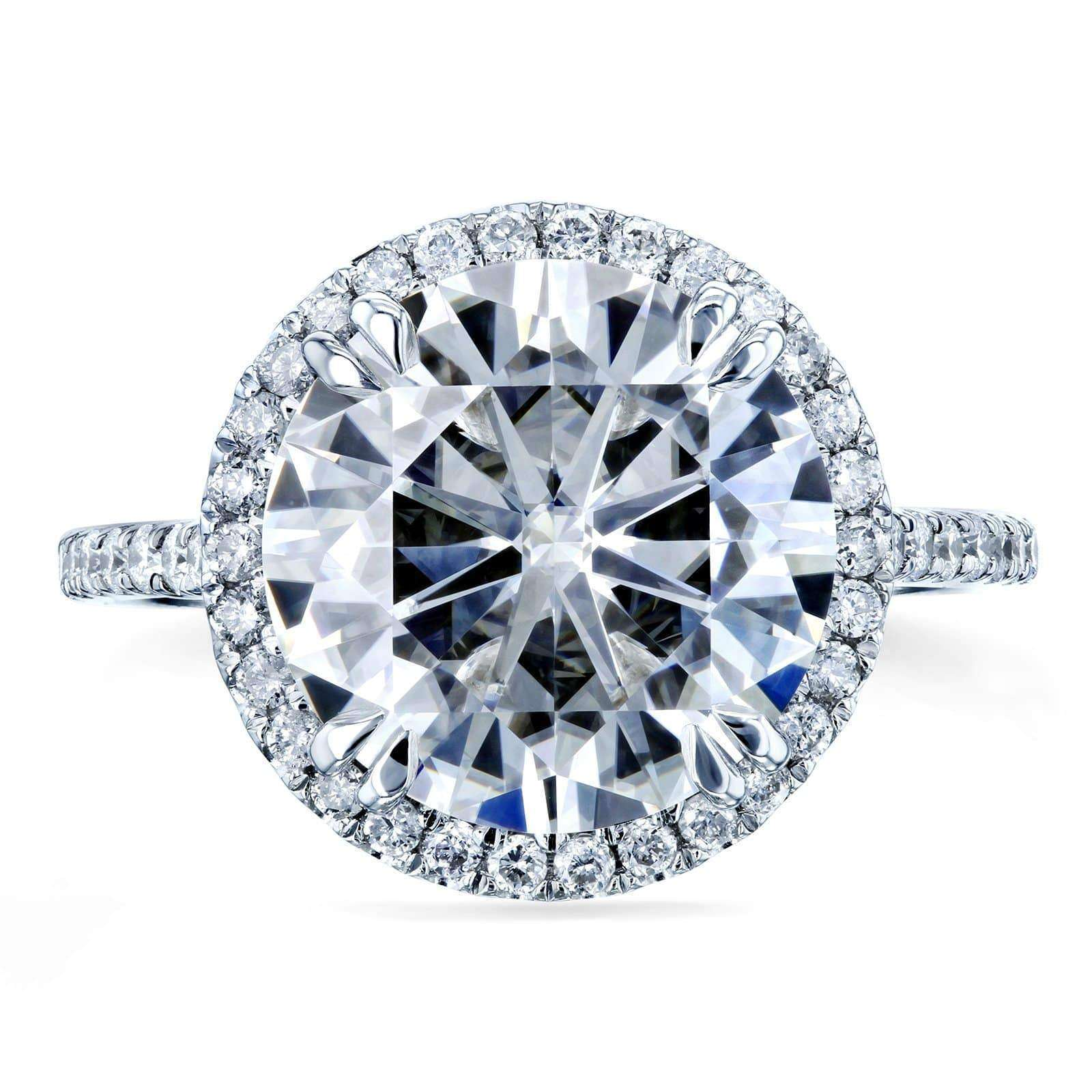Promos Moissanite and Diamond Halo Engagement Ring 5 1/5 CTW in 14k White Gold - 9.5