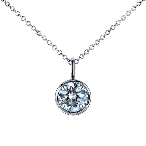 "Kobelli Moissanite Solitaire Bezel Pendant and Detachable Chain 1 CTW 14K White Gold (16"" Chain) MZ62201"