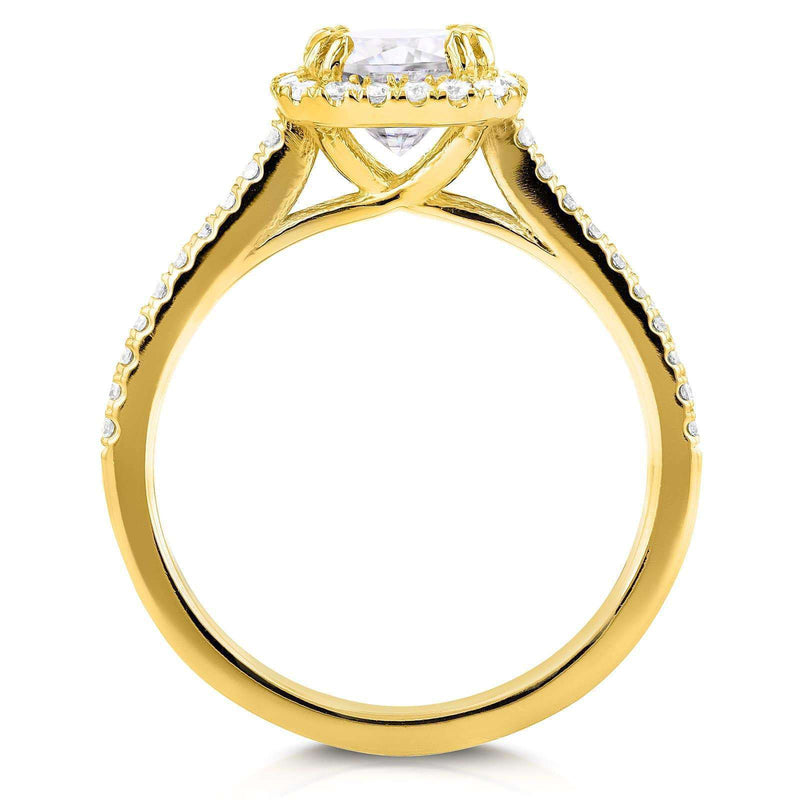 Kobelli Cushion-cut Moissanite and Diamond Halo Trellis Engagement Ring 1 2/5 CTW in 14K Yellow Gold