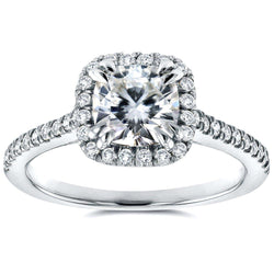 Kobelli Cushion-cut Moissanite and Diamond Halo Trellis Engagement Ring 1 2/5 CTW in 14K White Gold