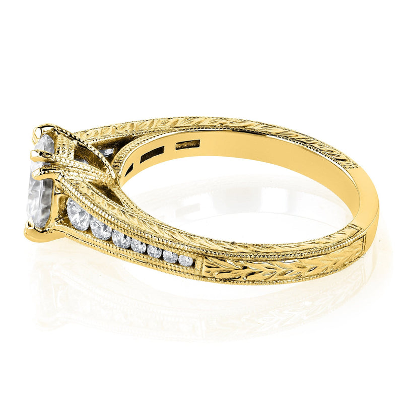Kobelli Near Colorless (H-I) Moissanite and Diamond Channel Milgrain Bands Bridal Set 1-1/2 CTW in 14K Yellow Gold