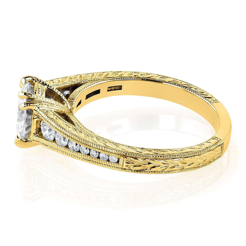 Kobelli Moissanite (H-I) and Diamond Channel Milgrain Band Engagement Ring 1-1/4 CTW in 14K Yellow Gold