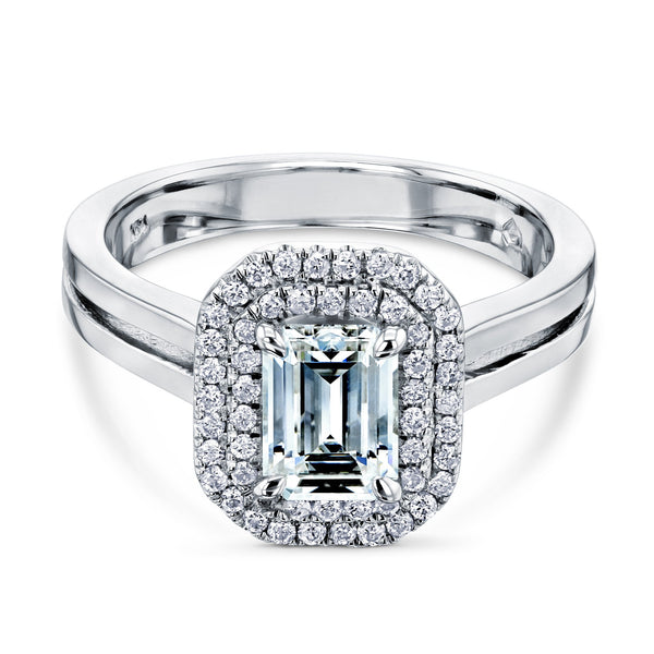 Kobelli Double Halo Emerald Cut Engagement Ring