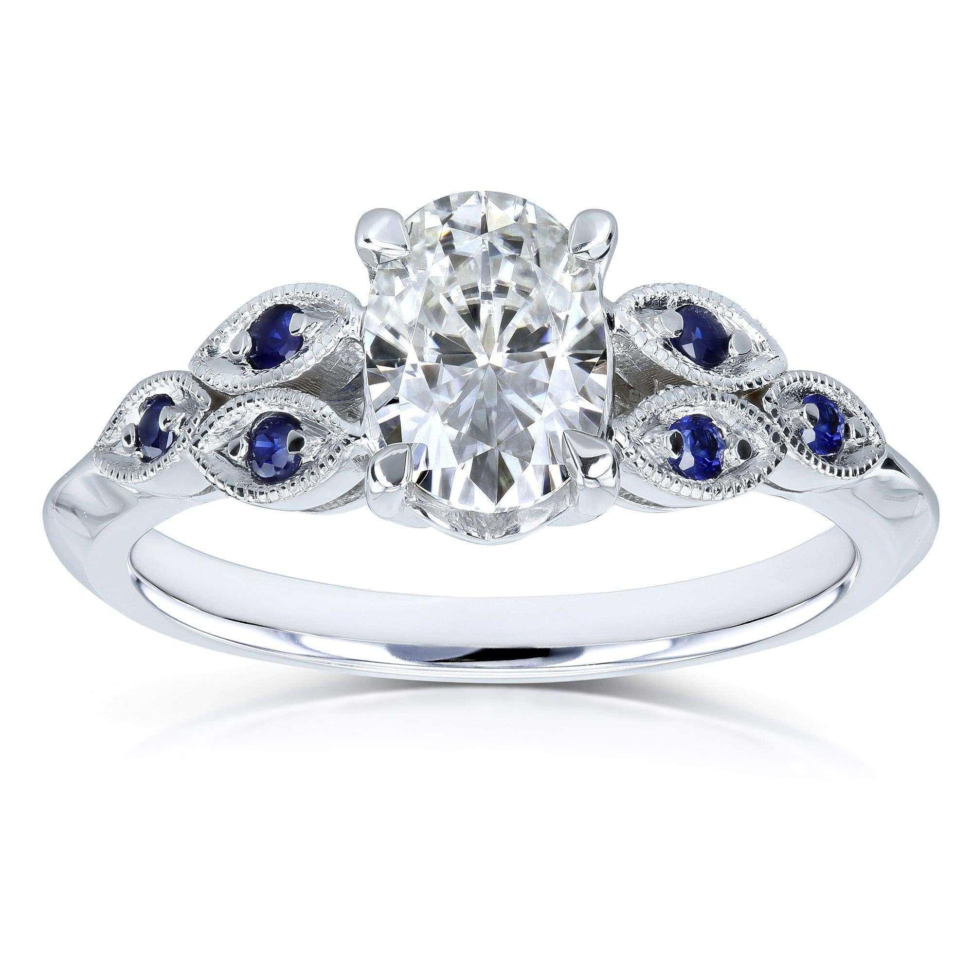 Reviews Oval Floral Vintage Blue Accent Ring - 4.5 Forever One D-E-F