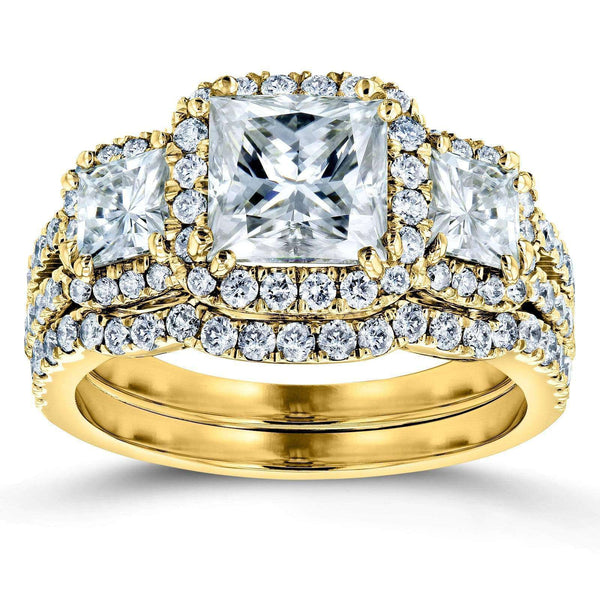 Kobelli Princess Moissanite and Diamond Halo 3-Stone Bridal Rings Set 3 1/10 CTW 14k Yellow Gold