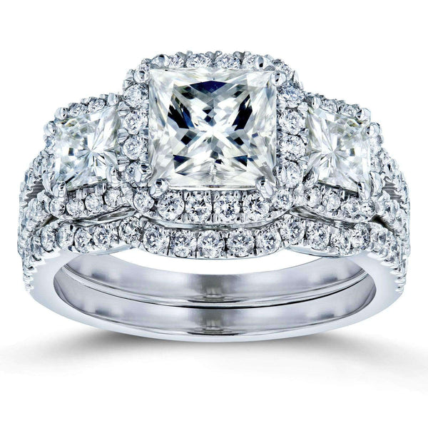 Kobelli Princess Moissanite and Diamond Halo 3-Stone Bridal Rings Set 3 1/10 CTW 14k White Gold