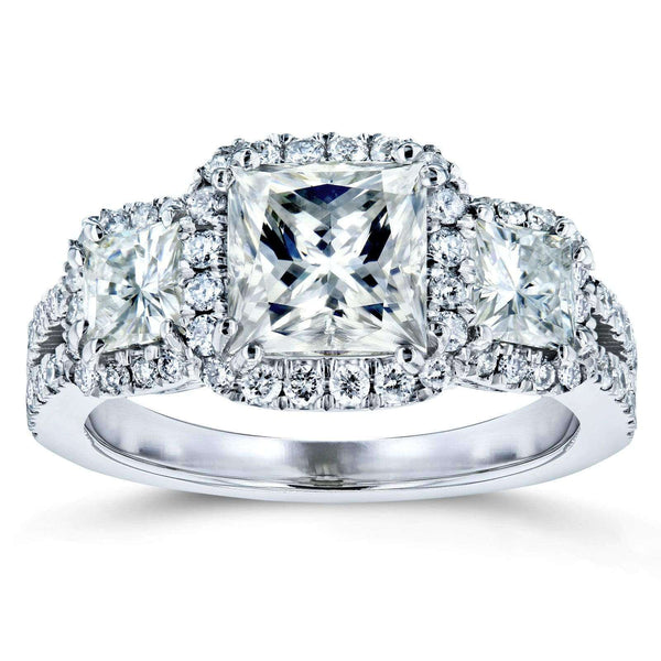 Kobelli Princess Moissanite and Diamond Halo 3-Stone Engagement Ring 2 4/5 CTW 14k White Gold