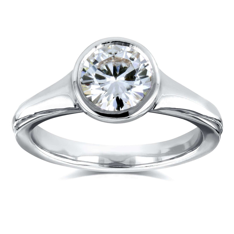 1ct Round Moissanite Solitaire Bezel Ring