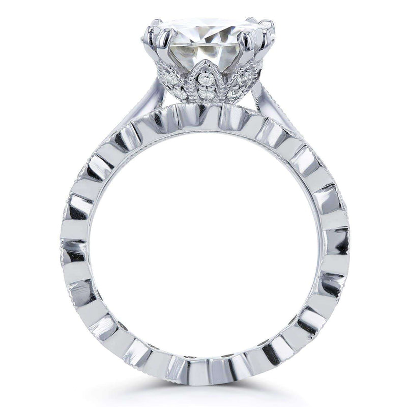 Kobelli Moissanite (HI) and Diamond Bridal Set 3 3/5ct TCW in 14k White Gold