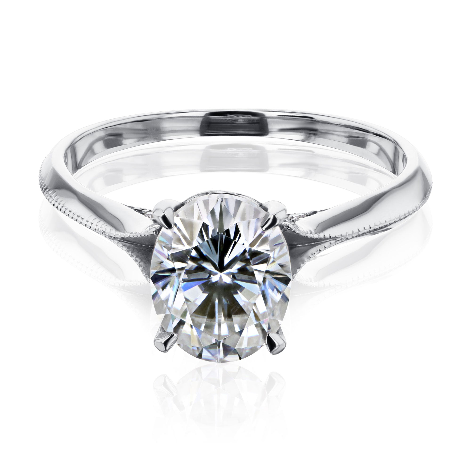 Compare 2ct Oval Forever One DEF Moissanite Cathedral Engagement Ring - white-gold 10.0 Forever One D-E-F
