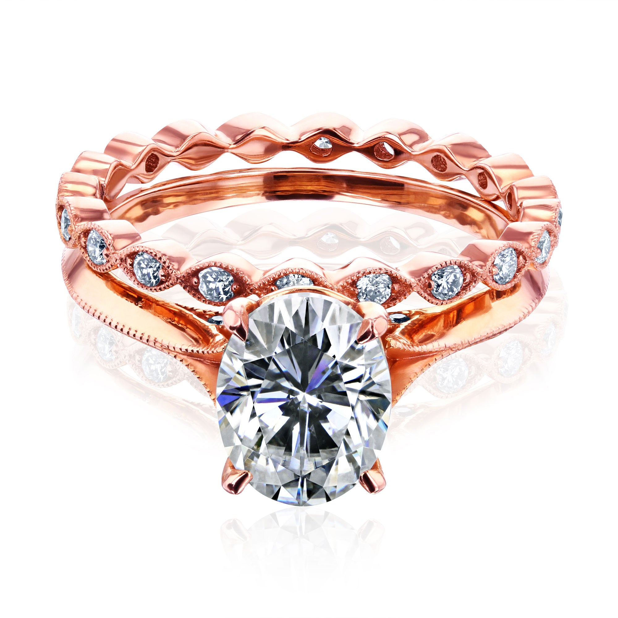 Best 2ct Oval Forever One Moissanite Cathedral Bridal Set - 4.0 rose-gold Forever One DEF
