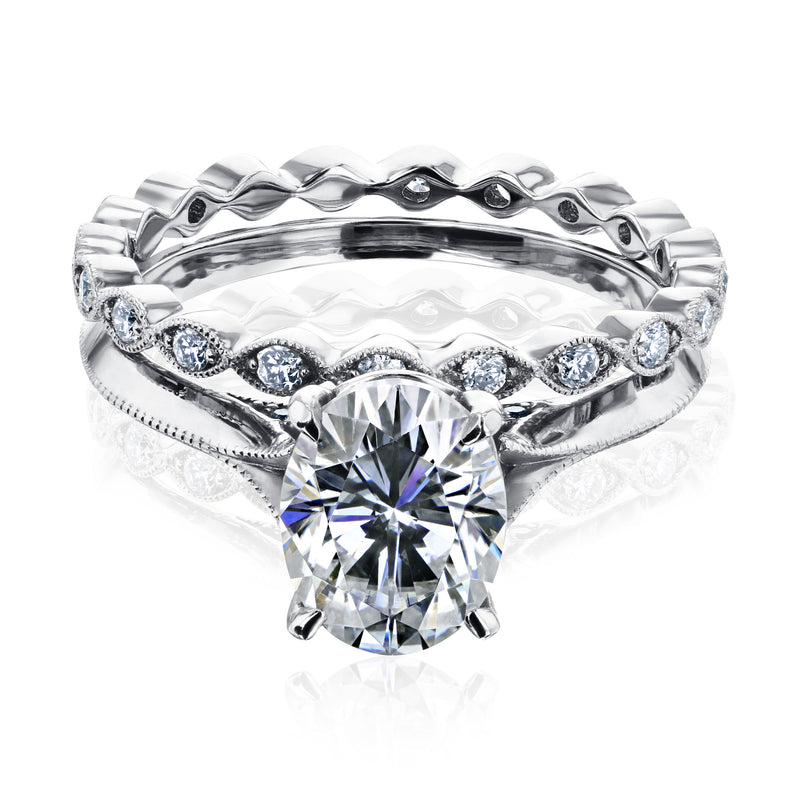 2ct Oval Forever One Moissanite Cathedral Bridal Set