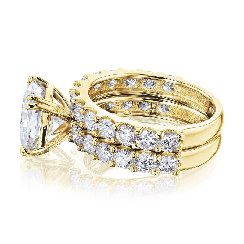 Kobelli 4-5/8 Carat Cushion Moissanite and Natural White Diamond Clean Shared U-Prong Bridal Set in 14k Gold