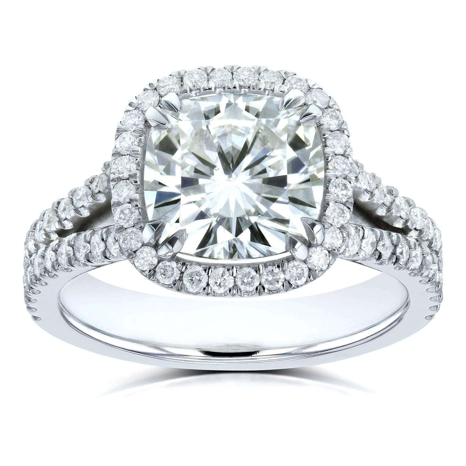Cheap Cushion H-I Moissanite with Diamond Split Shank Halo Engagement Ring 3 1/3 CTW 14k White Gold - 8.5