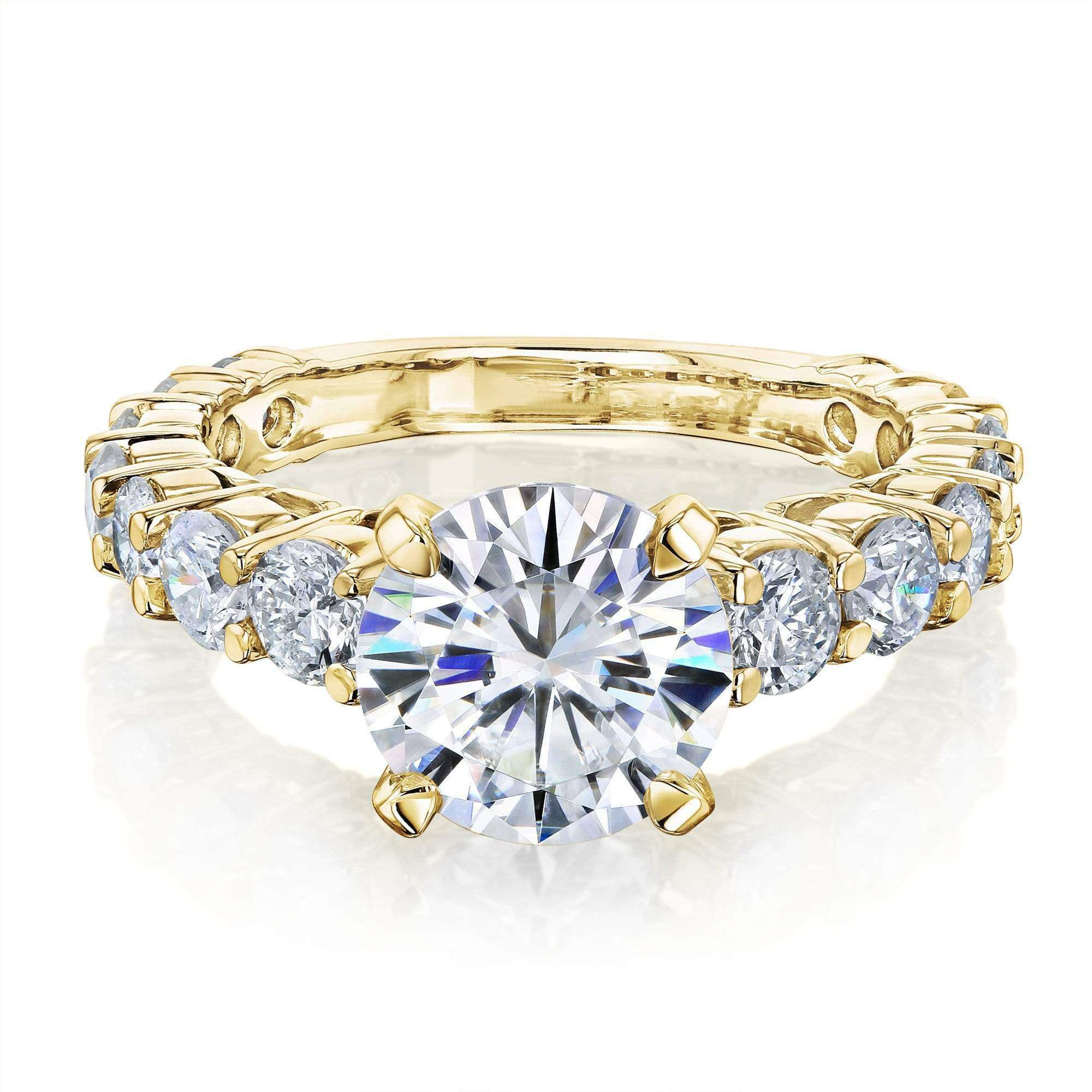 Cheap 1.9ct Forever One Moissanite and 1-1/3ct Diamond Ring 3 1/4ct TCW - yellow-gold 5.0