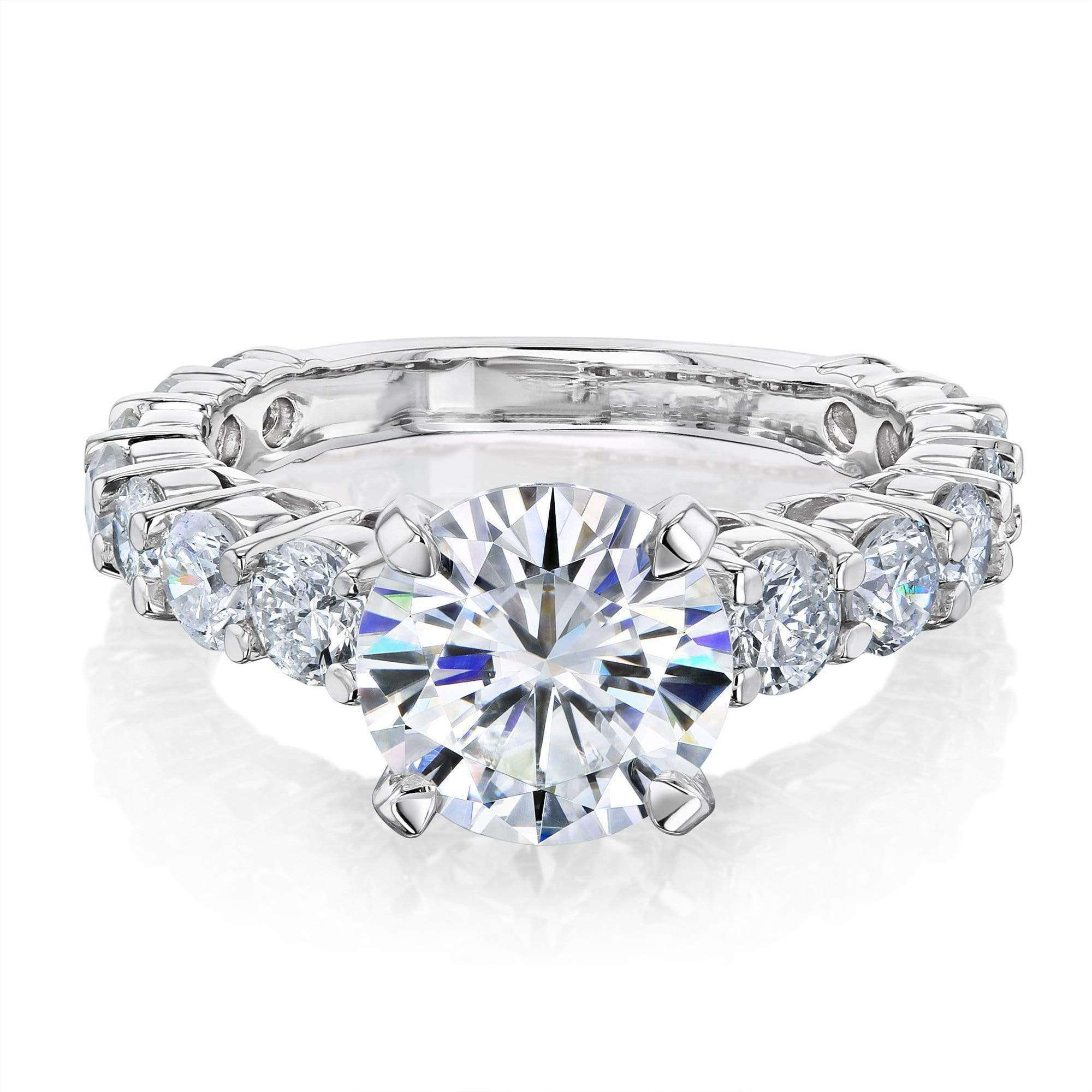 Reviews 1.9ct Moissanite and 1-1/3ct Diamond Ring 3 1/4ct TCW - white-gold 9.5 Kobelli F-G