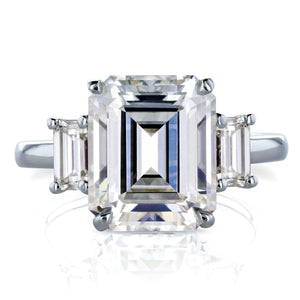 5 1/2 Carat TGW Three Stone Emerald Cut Moissanite Statement Engagement Ring in 14k White Gold