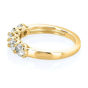 5 Stone Round Moissanite 14k Gold Band (4/5 CTW)