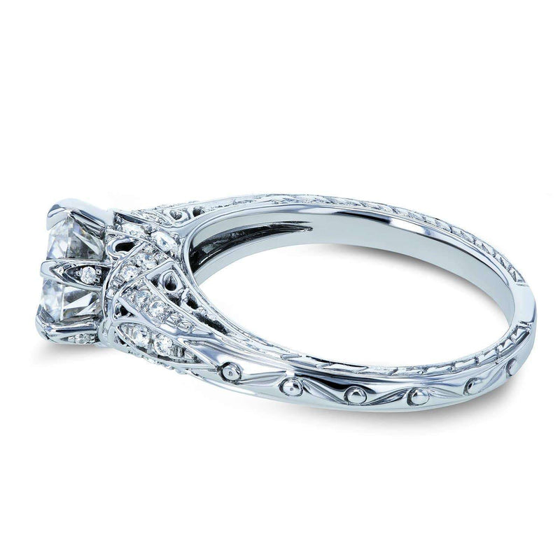 Kobelli Moissanite (HI) and Diamond 6-Prong Antique Engagement Ring 1 1/6 CTW 14k White Gold
