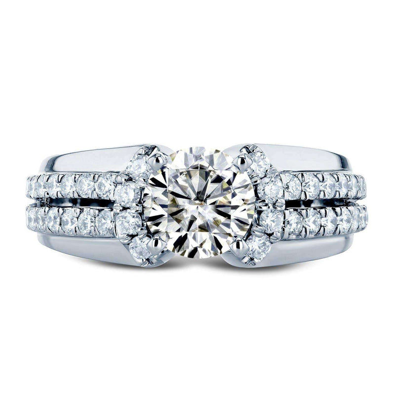 Kobelli Moissanite (HI) and Diamond Split Shank Engagement Ring 1 1/2 TCW in 14k White Gold