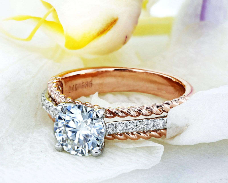 Kobelli Moissanite (FG) and Diamond Unique Engagement Ring 1 1/6 TCW in 14k Two Tone Gold