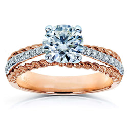 Kobelli Moissanite (HI) and Diamond Unique Engagement Ring 1 1/6 TCW in 14k Two Tone Gold