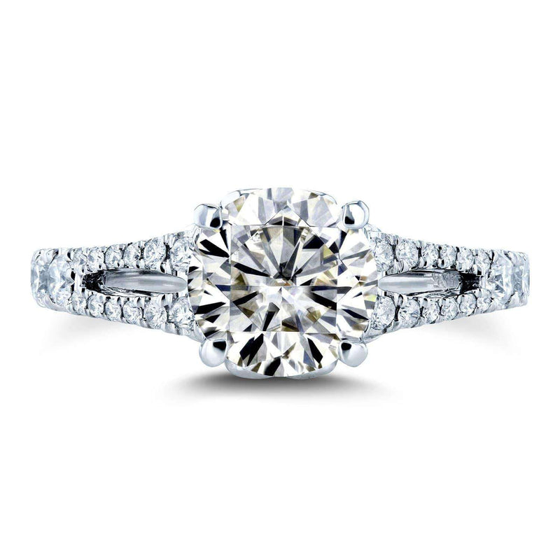 Kobelli Moissanite (HI) and Diamond Vintage Filigree Engagement Ring 1 7/8 TCW 14k White Gold