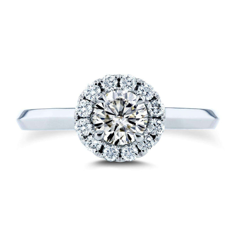 Kobelli Moissanite (HI) and Diamond Halo Cathedral Setting Engagement Ring 3/4 CTW 14k White Gold
