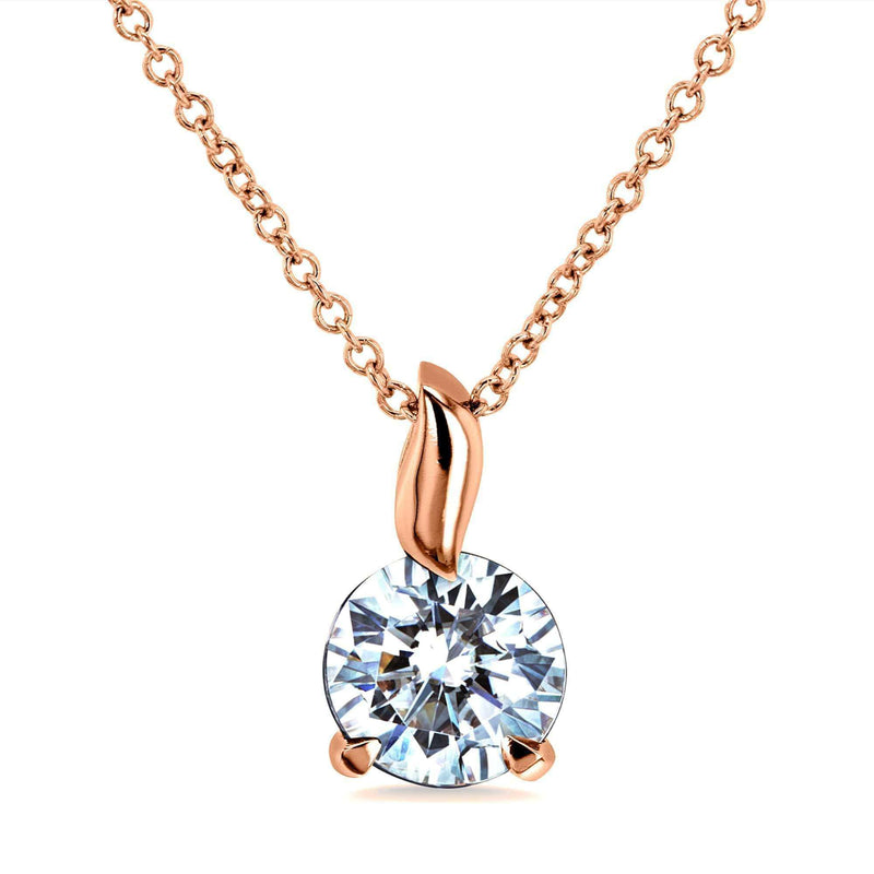 Kobelli 1ct Moissanite Solitaire Leaf Bail Necklace MZ62395/R