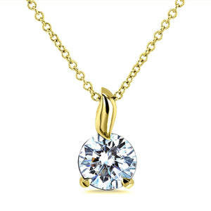 Kobelli 1ct Moissanite Solitaire Leaf Bail Necklace MZ62395/Y