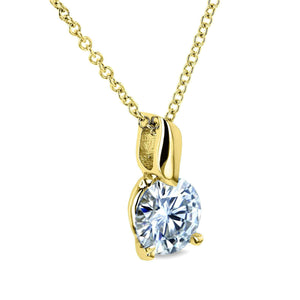 Kobelli 1ct Moissanite Solitaire Leaf Bail Necklace