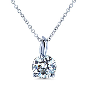 Kobelli 1ct Moissanite Solitaire Leaf Bail Necklace MZ62395/W