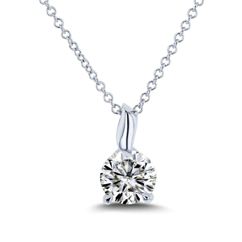 Kobelli Round Moissanite (H-I) Solitaire Pendant and Chain 4/5 Carat (6mm) in 14k Gold
