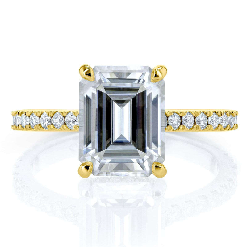 Kobelli Emerald-cut Moissanite and Diamond Engagement Ring 2 7/8 CTW 14k Yellow Gold