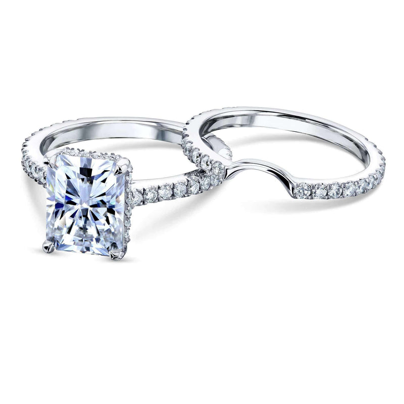 Kobelli 3-2/5ct TW Radiant Moissanite Drop Halo Bridal Set