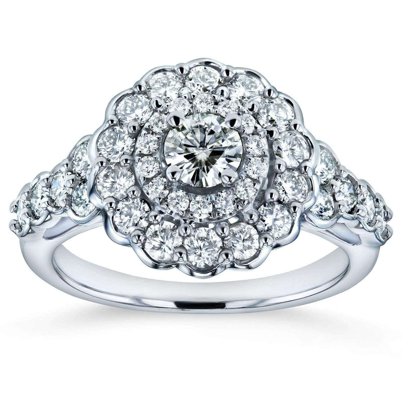 Kobelli Moissanite and Diamond Floral Double Halo Engagement Ring 1 1/10 CTW 14k White Gold